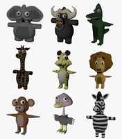 funny cartoon exotic animals 3D model