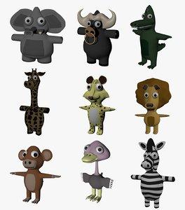 funny cartoon exotic animals 3D model
