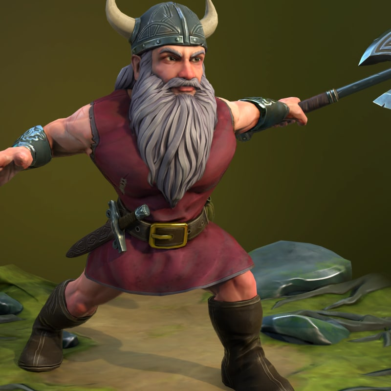 3D fantasy dwarf - rigged