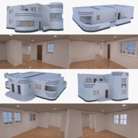 streamline moderne interior 3D model