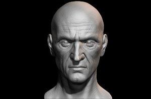 3D male face uv