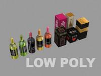 3D model bottled wines boxes