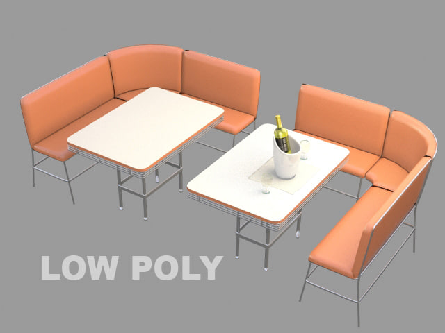 3D set restaurant table