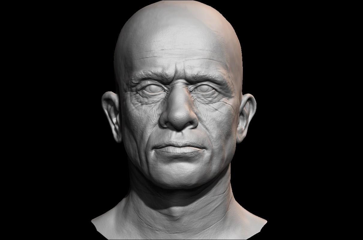 male face uv 3D