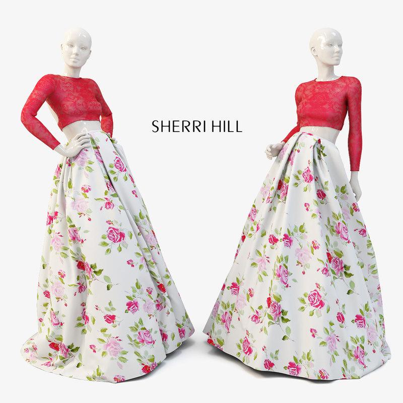 3D model mannequins dresses