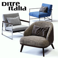 3D ditre italia armchairs set model