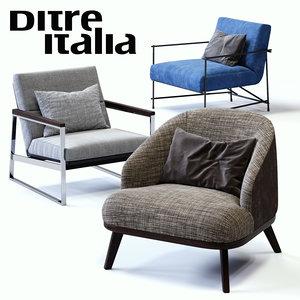 3D ditre italia armchairs set model