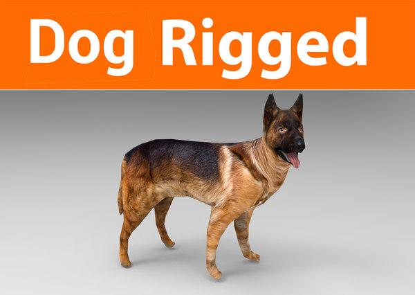 german shepherd dog rigged 3D