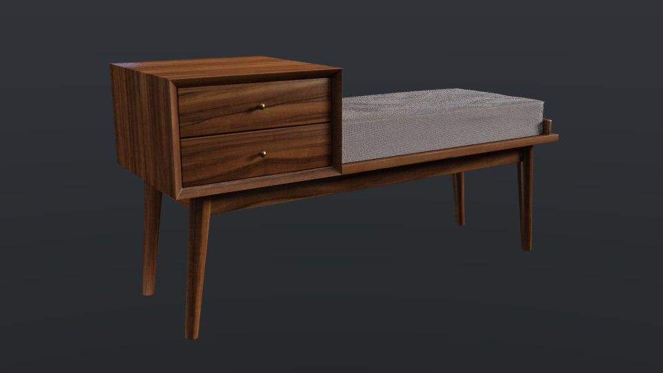 mid-century bench 3D model