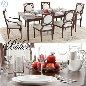 3D baker cheval table louis chair