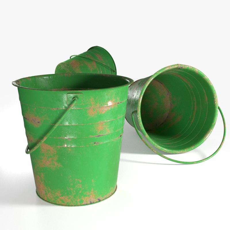 3D bucket metallic model