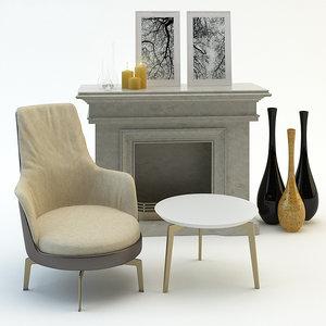 chair guscioalto fireplace coffee table model