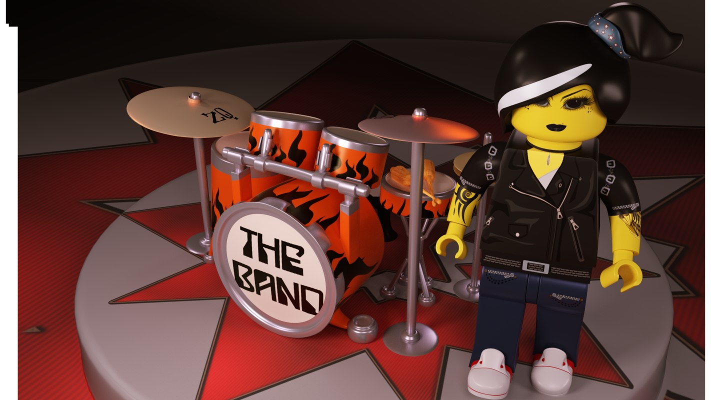 3D lego drums character woman