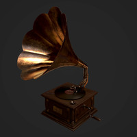 3D retro gramophone model
