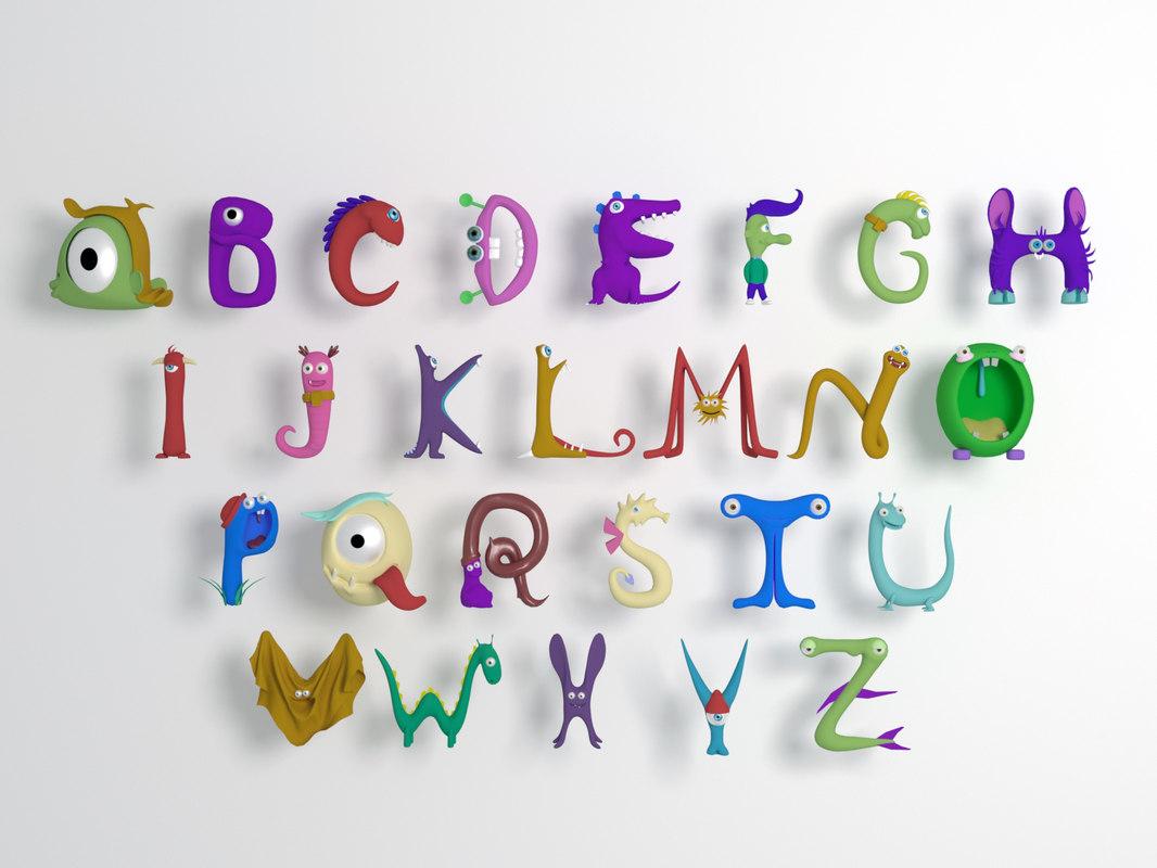 3 Letter Cartoon Characters : D cartoon alphabet model turbosquid