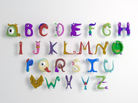 3D cartoon alphabet model