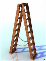 3D step ladder wood