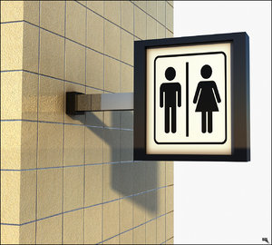 sign toilet 3D model