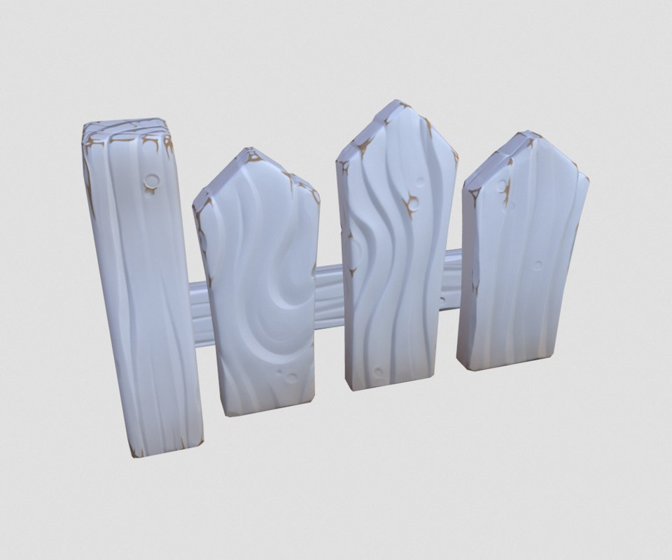 3D model cartoon white fence