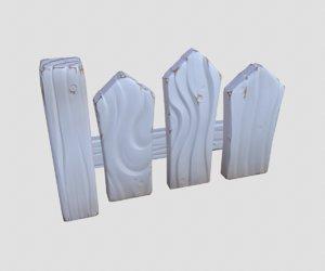3D model cartoon white fence