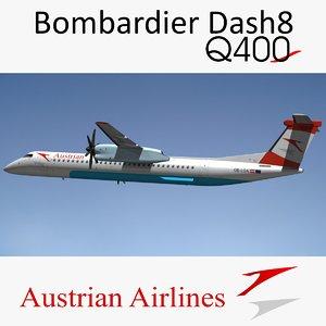 bombardier dash q400 austrian 3D model