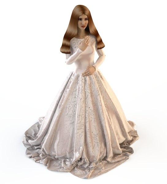 v-ray wedding evening dress 3D