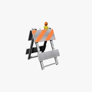 3D a-frame barricade model