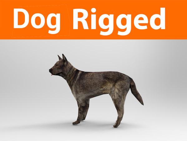 german shepherd dog rigged model