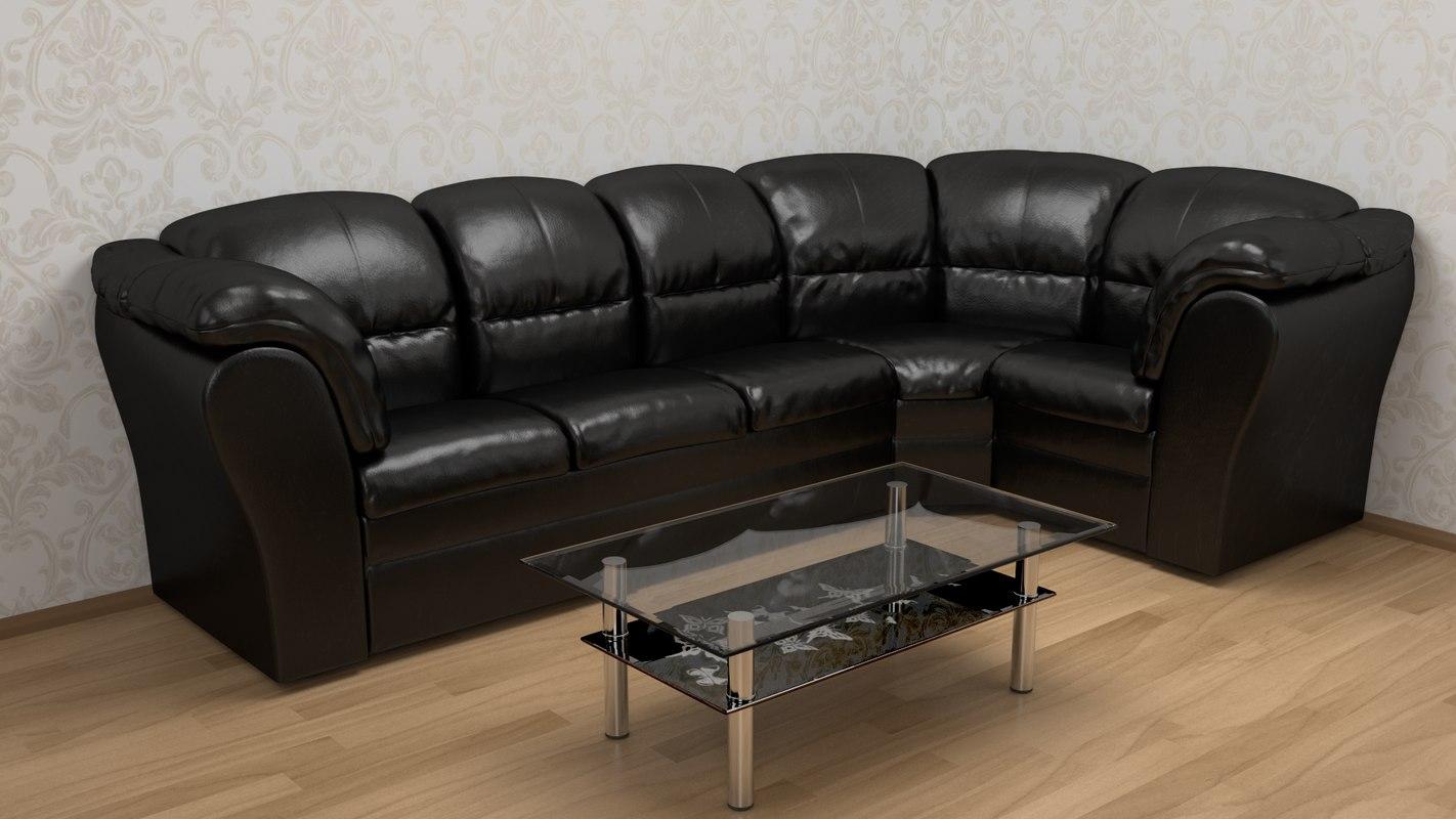 corner sofa leather 3D model