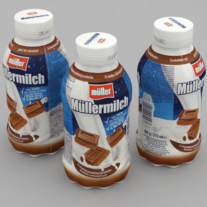 3D dairy bottle mullermilch chocolate