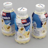 dairy bottle mullermilch white 3D model
