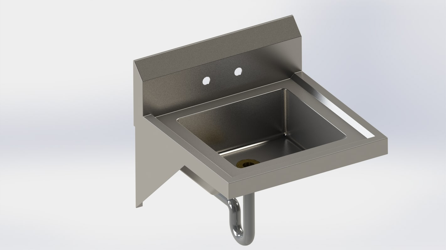 stainless steel hand sink 3D model