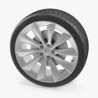 3D model tesla silver turbine wheel