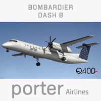 3D bombardier dash porter airlines model