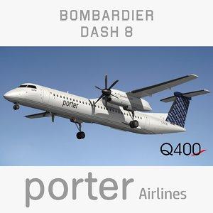 3D bombardier dash porter airlines model