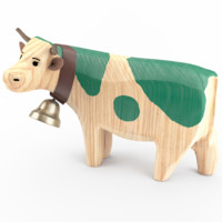Carved Wooden Cow 3D model