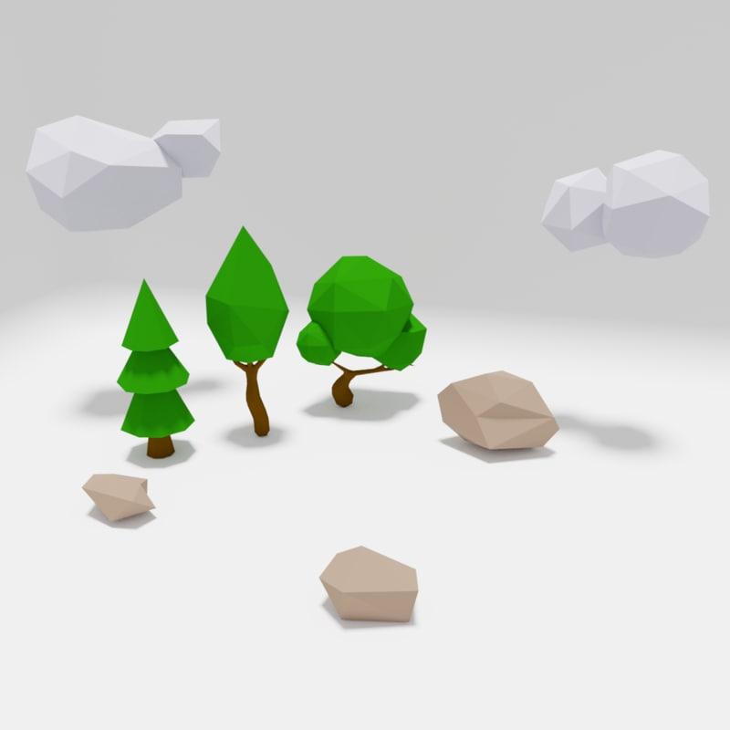 3D pack set trees model