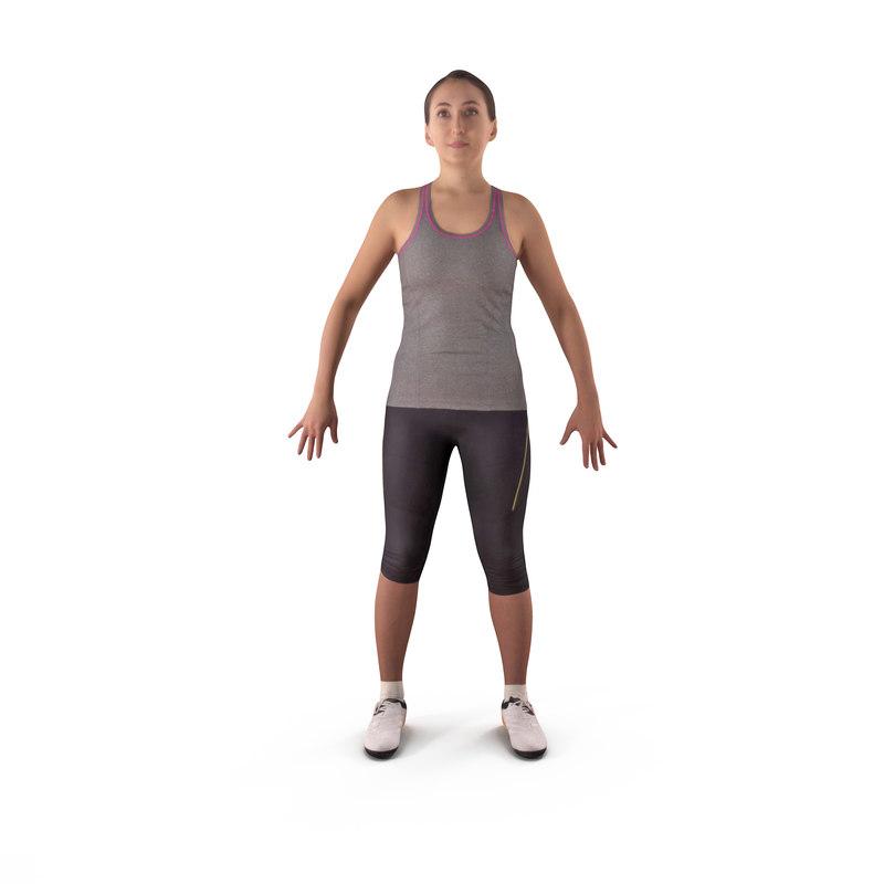 sport woman a-pose human body 3D model
