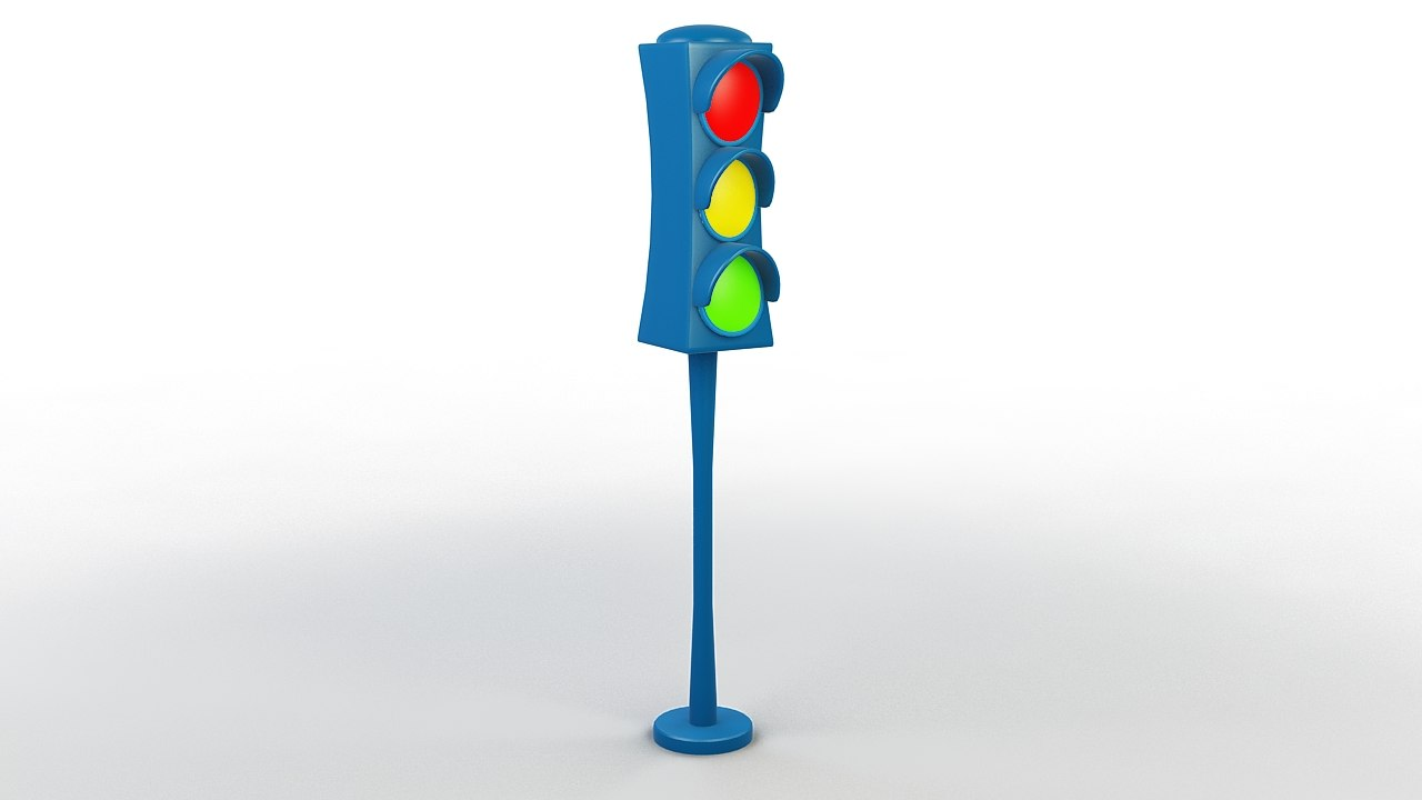 cartoon traffic light 3D