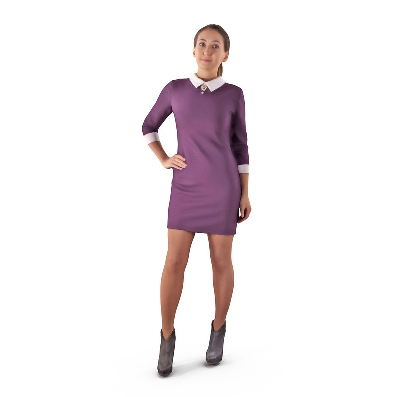 3D model casual woman human body