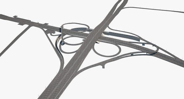 3D model highway road junction 2
