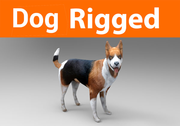 german shepherd dog rigged model