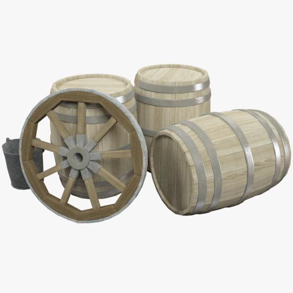 wooden barrels wagon wheel 3D model