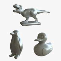 3D monopoly new playing pieces model