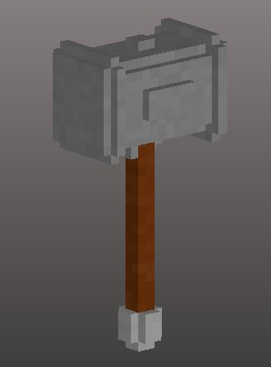 3D voxel iron hammer model