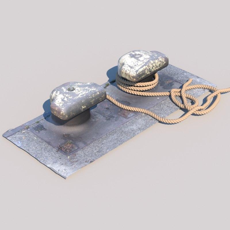 photo scanned bollard rope model