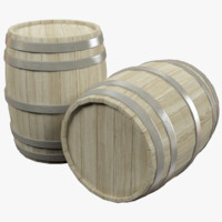 3D model wooden barrels