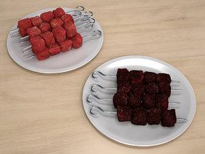 meat skewer raw 3D model