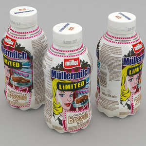 dairy bottle mullermilch brownie model