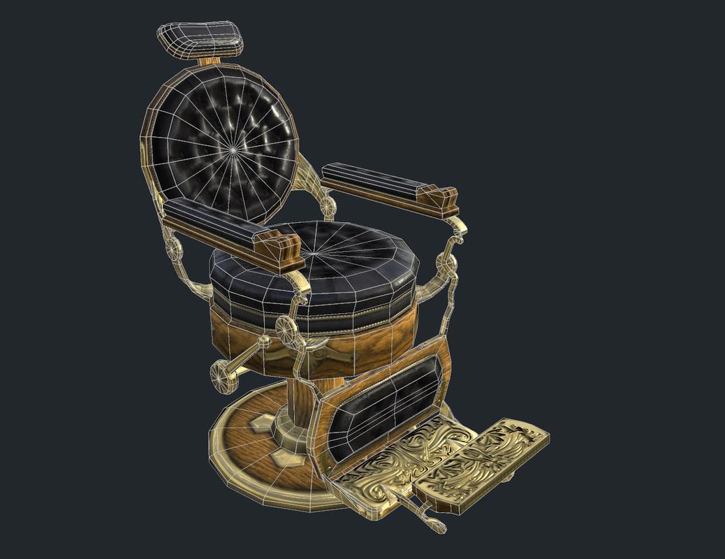 3D vintage barber s chair model